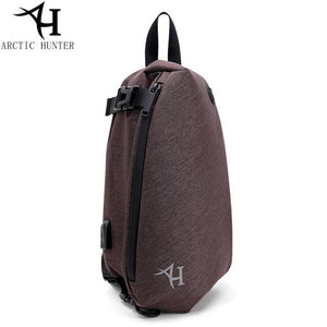 ARCTIC HUNTER new XB00045 men and women USB port waterproof printing crossbody chest bag Brown / (30cm<Max Length<50cm) Shop&Smile PH - The Store for Happy Filipino Shoppers