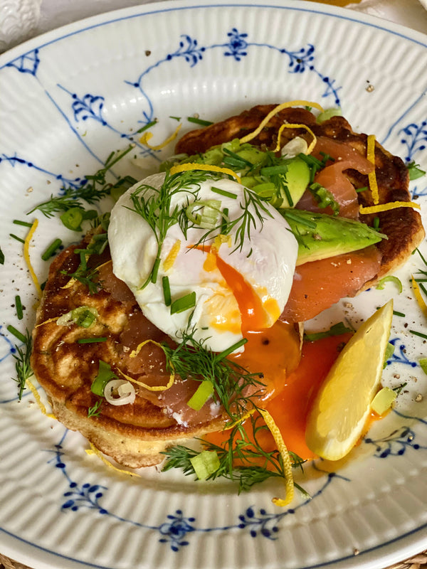 HERBY PANCAKES WITH SMOKED SALMON, AVOCADO & POACHED EGG with Amy-beth ellice