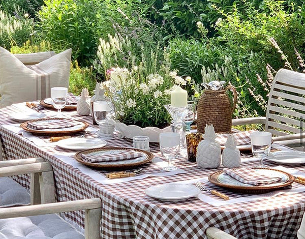 brown gingham tablecloth. brown gingham napkins