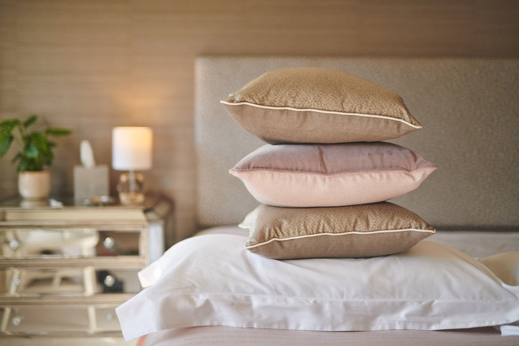 pink blush cushion rose bronze bed linen luxury italian made expensive high end hotel quality