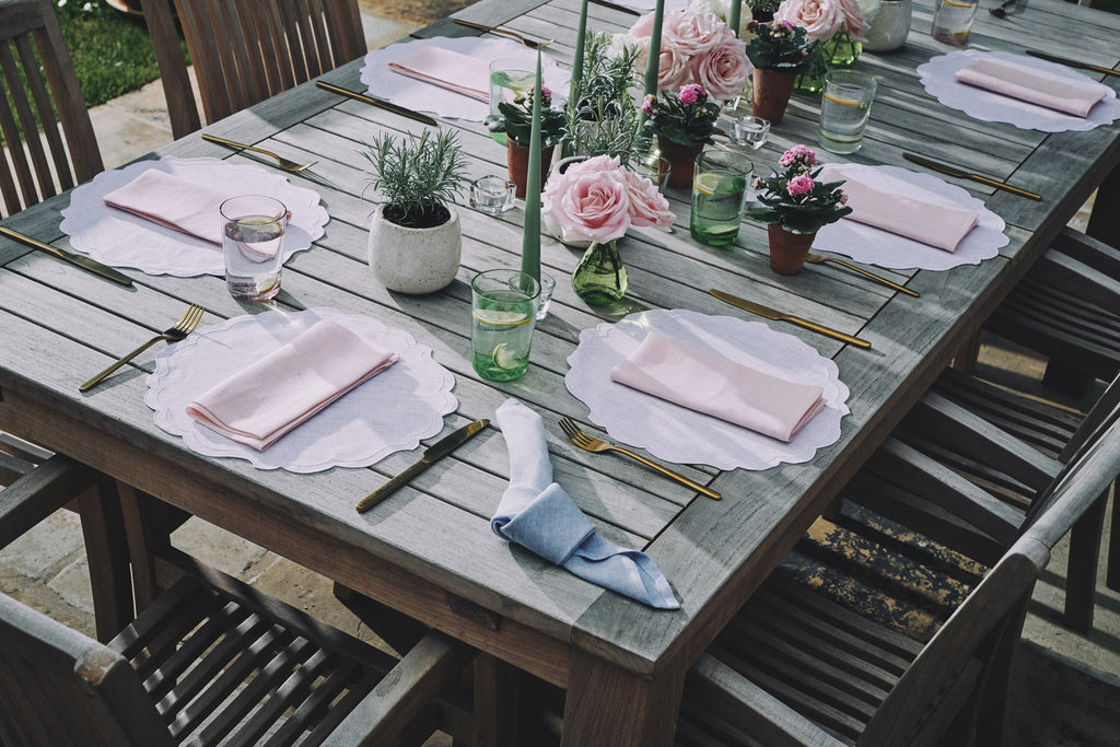 pastel pink napkin white scallop placemat table linen matilda goad