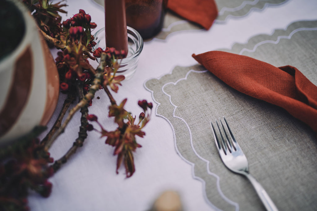 rustic chic taupe placemat table styling tablescape decor