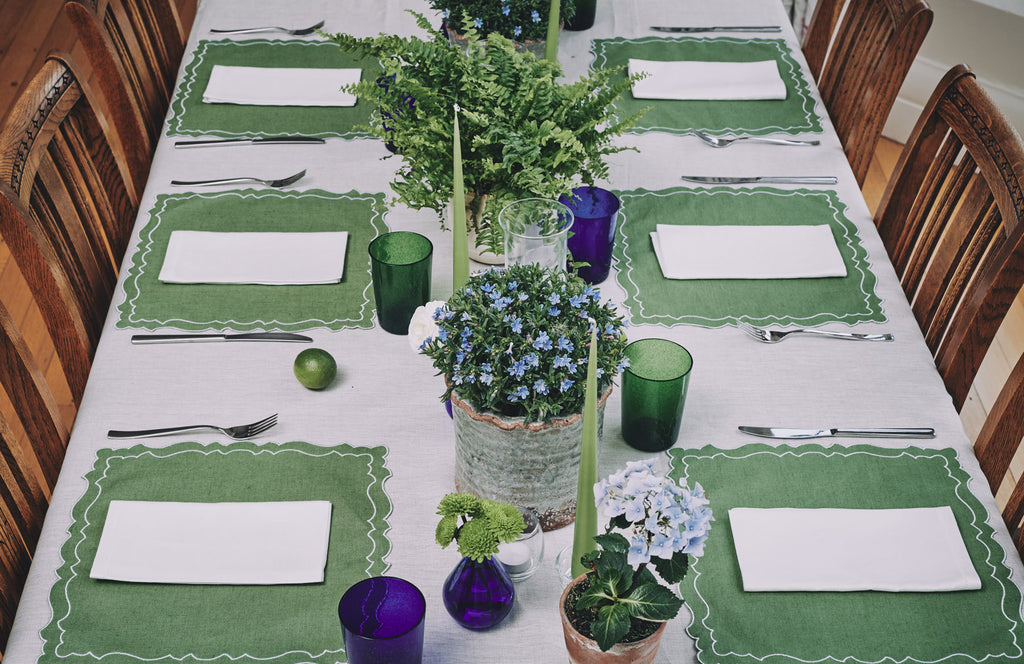 green blue serena fresson table styling interiors decor tablescape