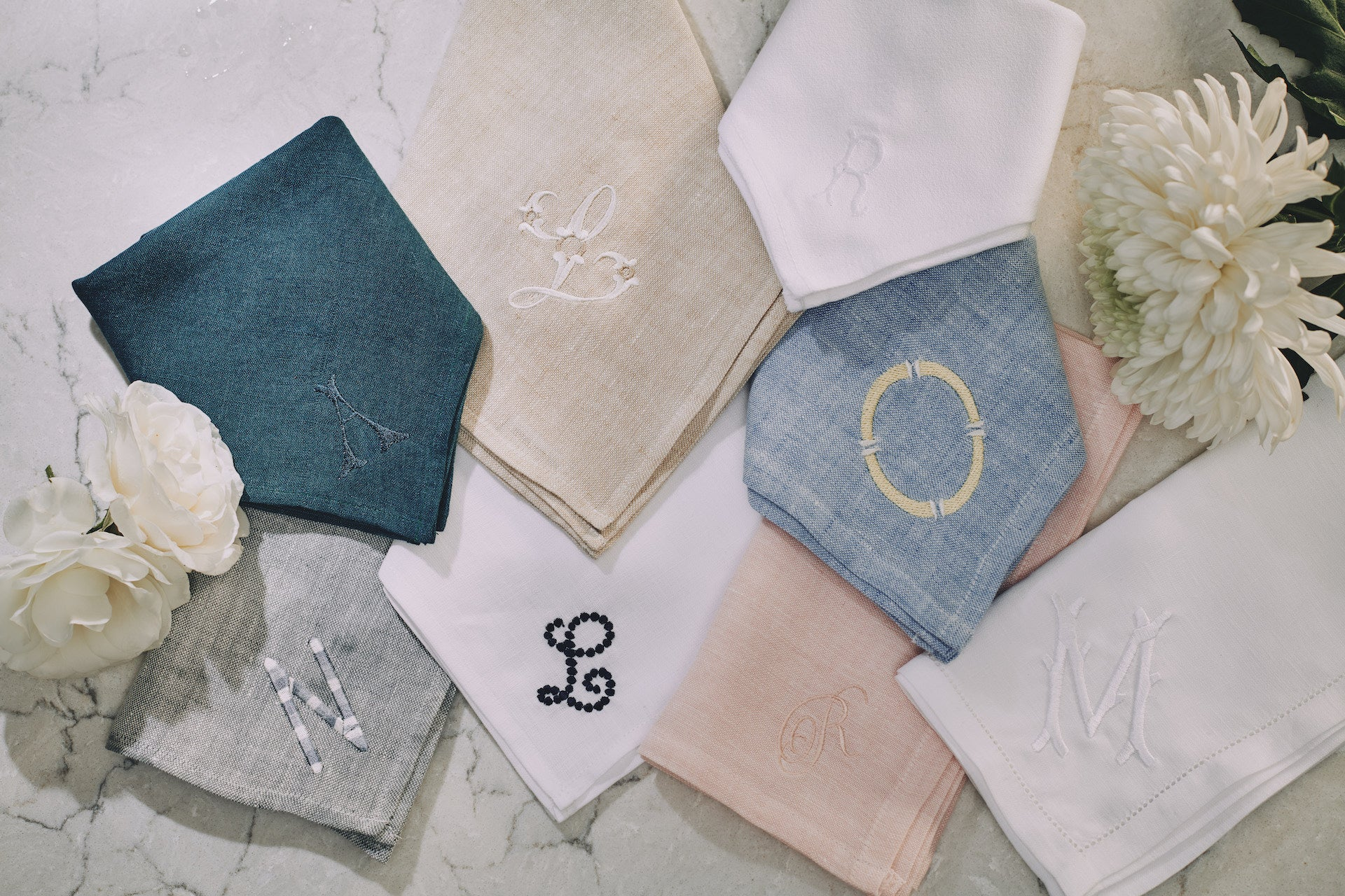 Luxury initialised initial monogram monogrammed napkins placemats table linens bespoke custom
