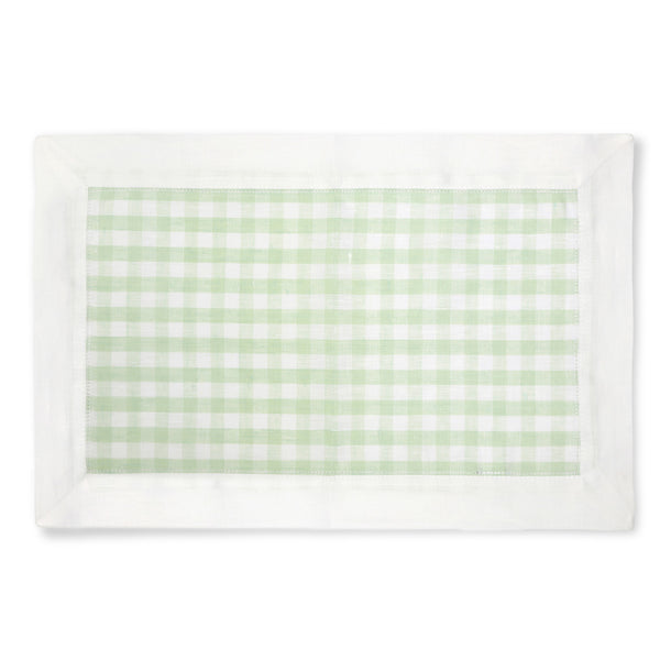 set of 4 linen pastel green gingham placemats