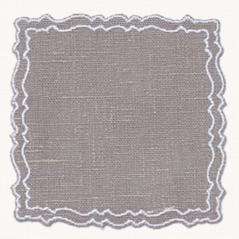 Grey and white waxed wipeable italian linen placemat coaster