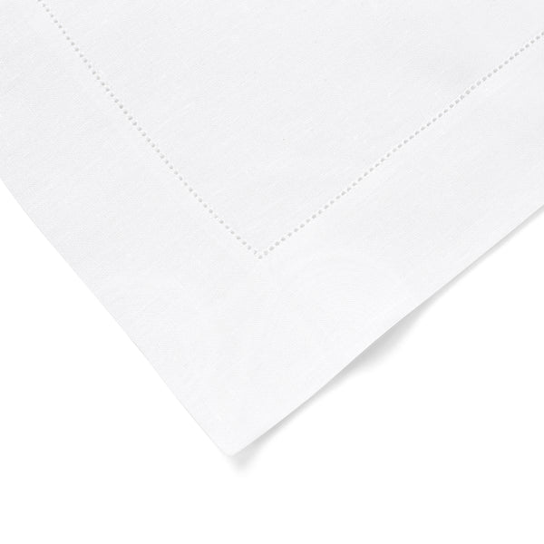 Set of 4 Fine Irish Linen Hemstitch Placemats in Bright White