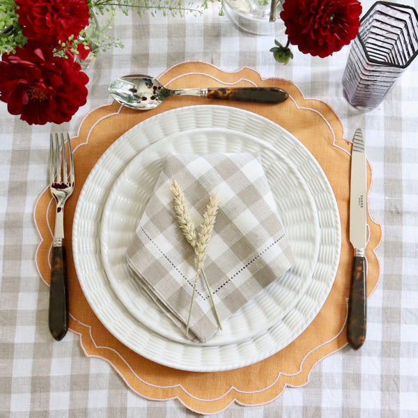 Set of 4 Gingham Linen Napkins, Taupe