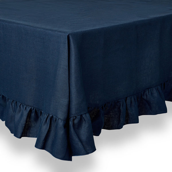 Ruffle Irish Linen Tablecloth, Navy