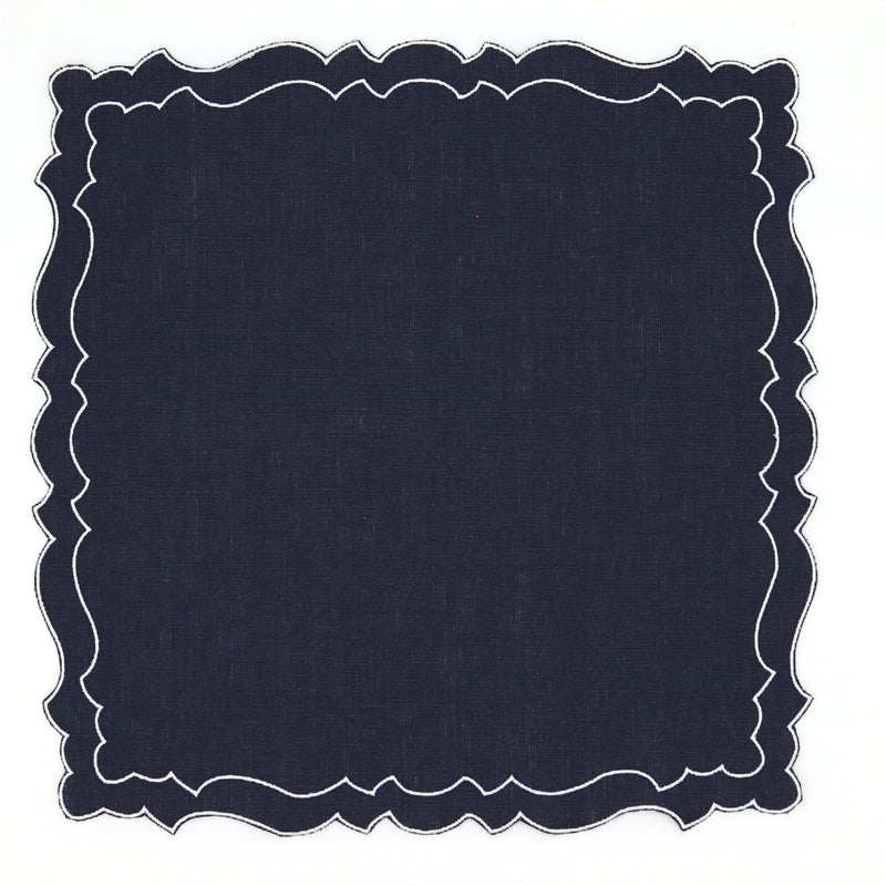 Waxed linen placemat in navy blue