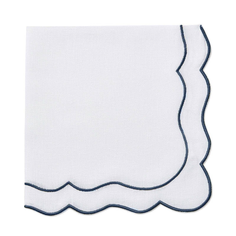 scalloped white and navy linen napkin