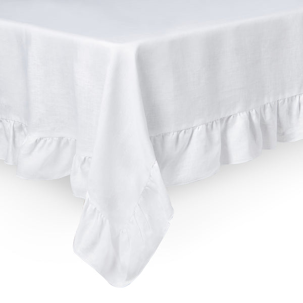 Ruffle Irish Linen Tablecloth, White