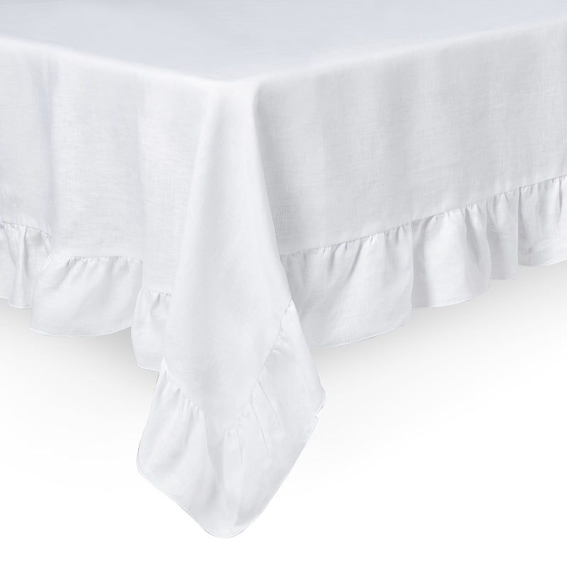 Frilled linen white tabelcloth
