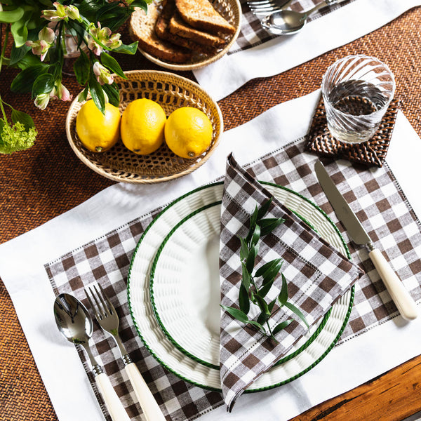 Gingham Linen Napkin, Brown