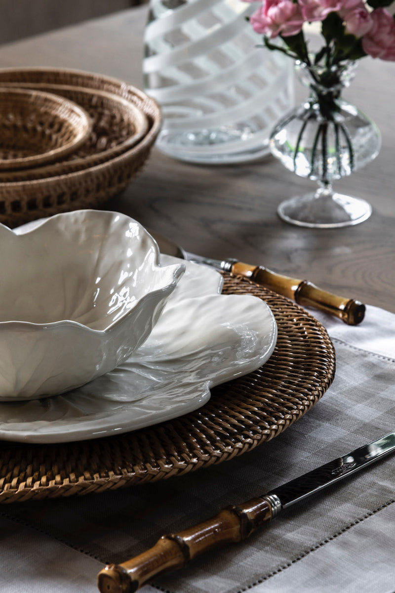 taupe gingham linen placemat