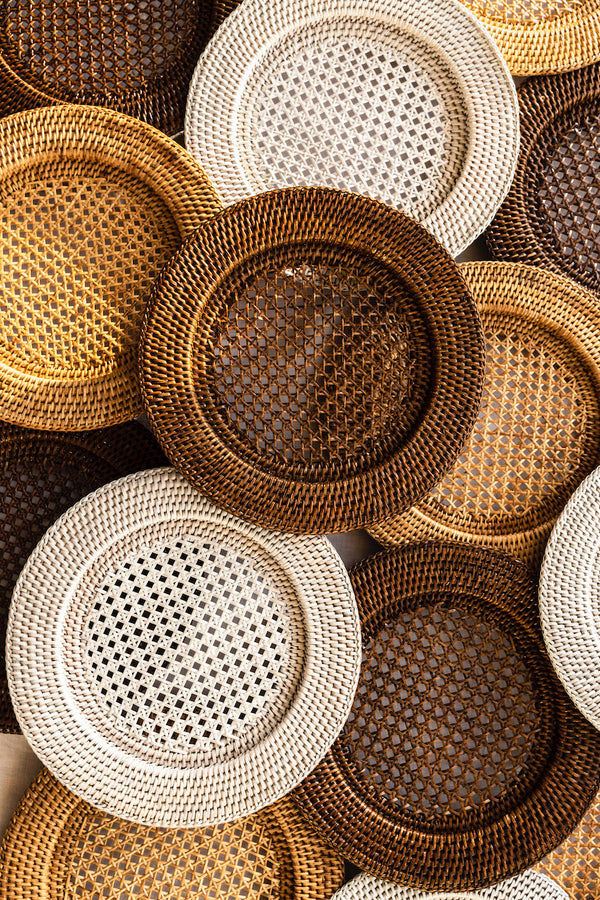 Rattan Charger, Rustic White