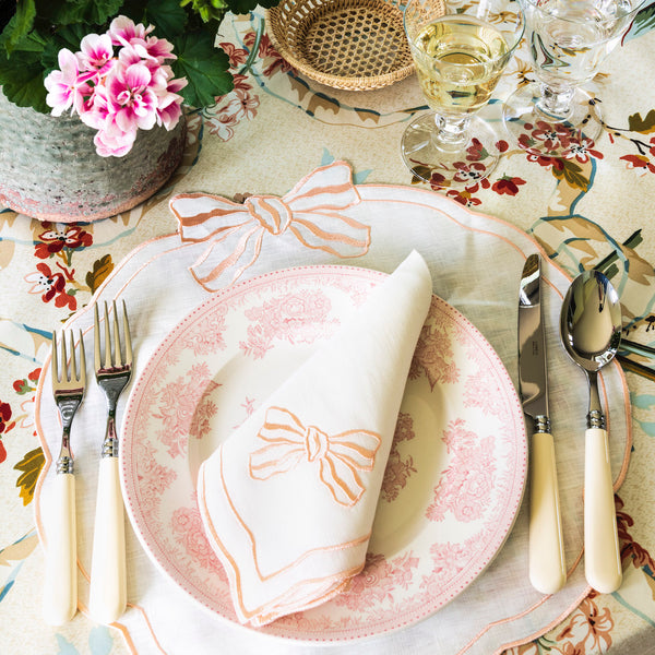Set of 4 Candy Bow Italian Linen Placemats, Ivory/Apricot