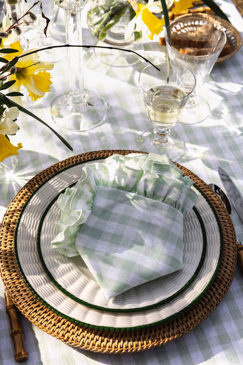 Gingham Ruffle Linen Tablecloth, Pastel Green