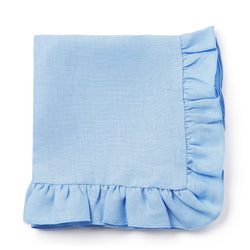 Frilled linen light blue napkin