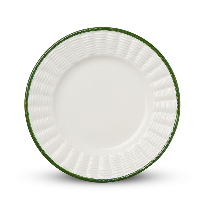 Basket woven crockery plate with green trim