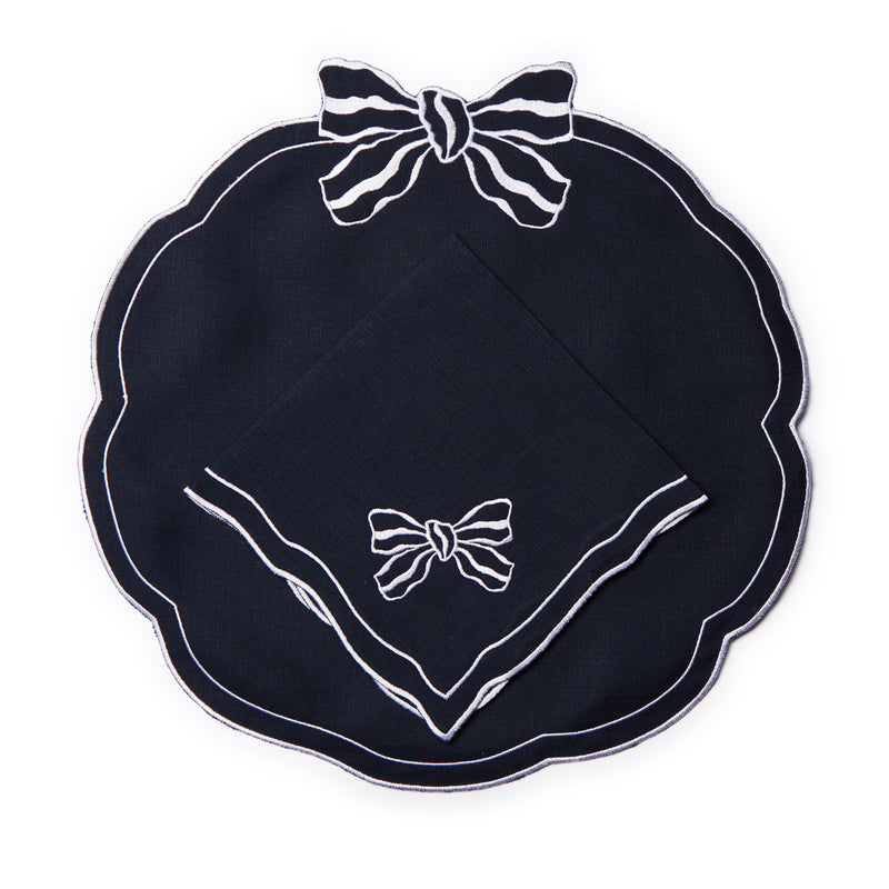 Set of 4 Candy Bow Italian Linen Napkins, Navy