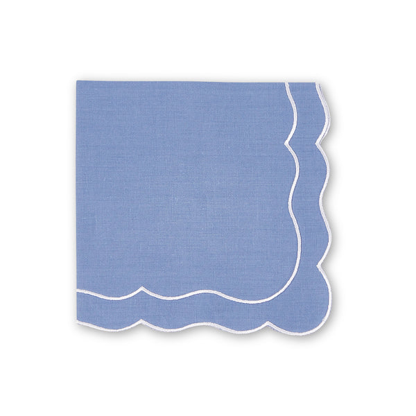 Set of 4 Lucy Scalloped Italian Linen Napkins, Various Colours