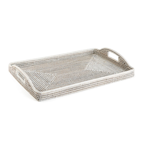 Rattan Breakfast Trays, Rustic White