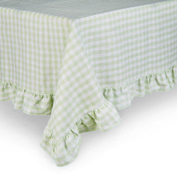 Ruffle frill gingham check light green table cloth