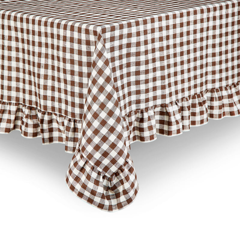 Gingham Ruffle Linen Tablecloth, Brown