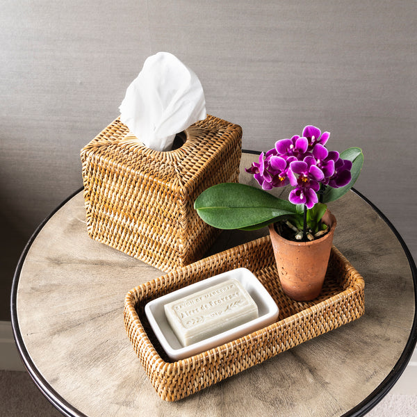PREORDER Medium Rattan Bathroom Tray