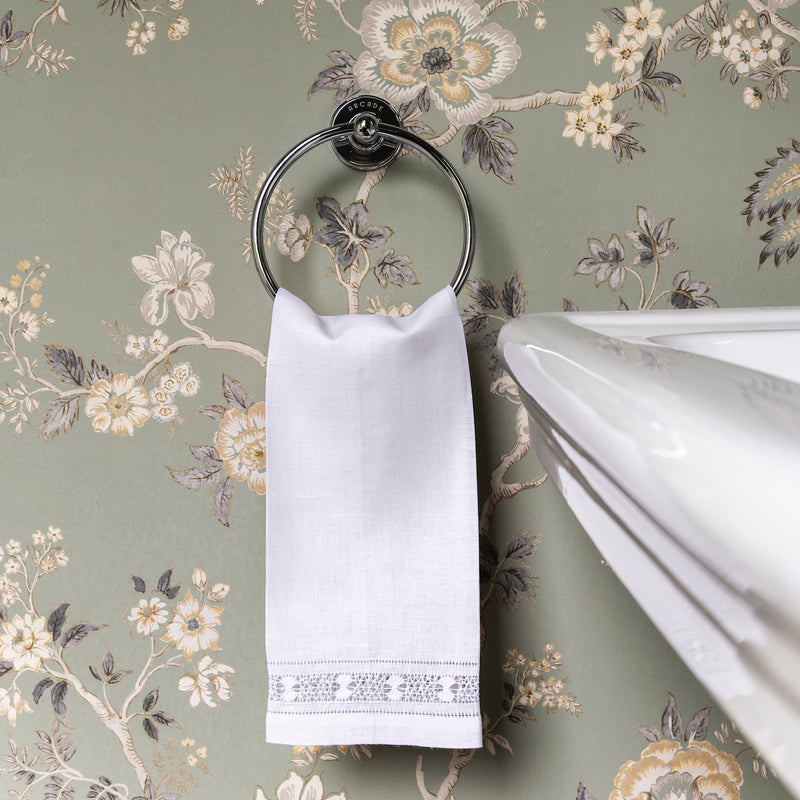 Ladder Stitch Linen Towel, Ivory