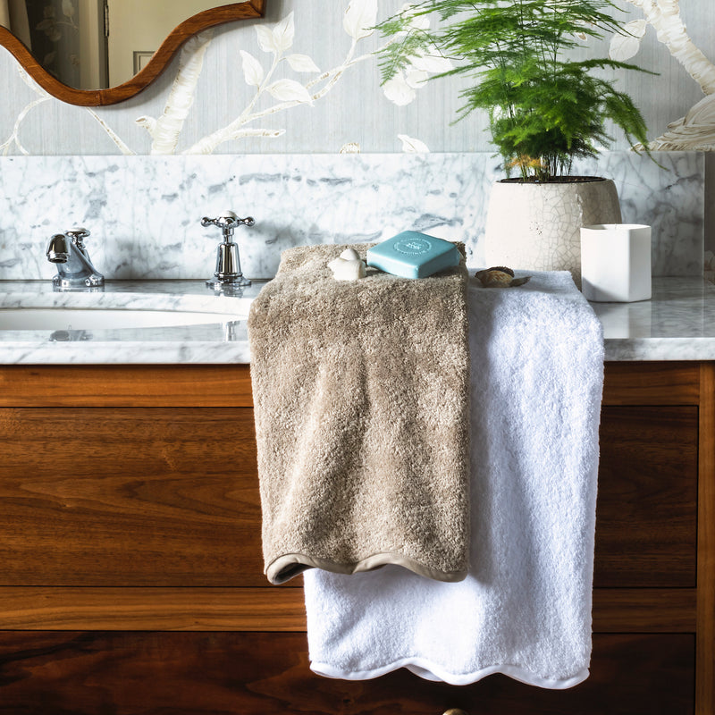 Scallop Pique Bath Towels, Colours