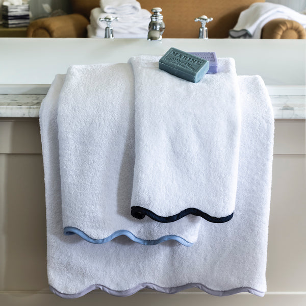 Custom Scalloped Bath Towels, White