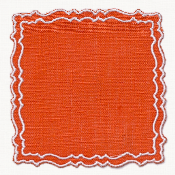 Orange waxed wipeable italian linen placemat coaster