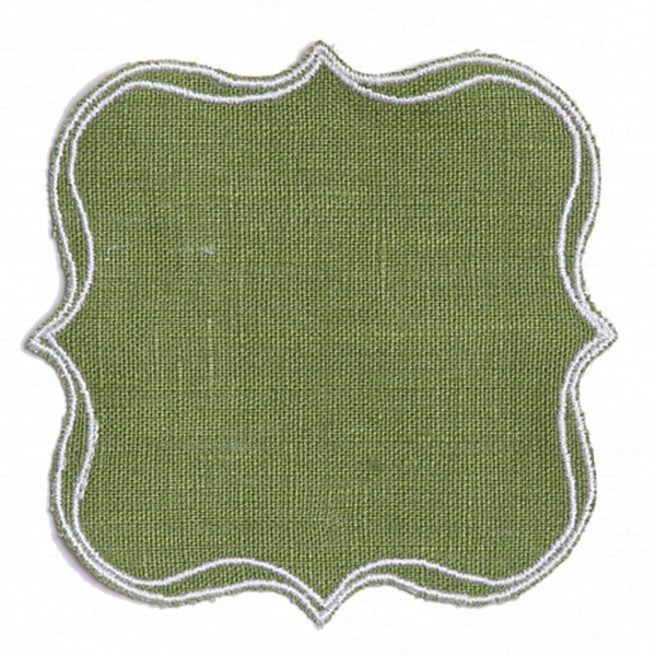 Grass green waxed linen placemat coaster