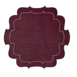 Burgundy waxed Italian linen placemat coaster
