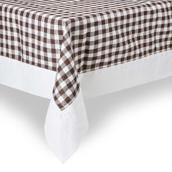 Gingham Linen Tablecloth, Chocolate Brown