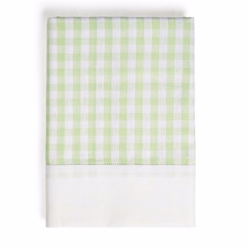 Gingham Linen Tablecloth, Pastel Green