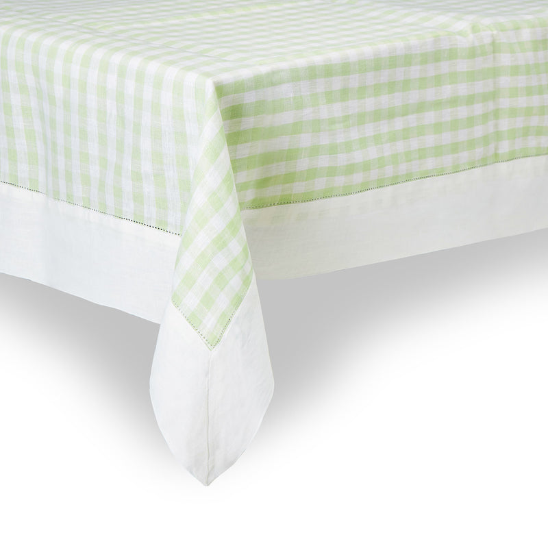 Light green gingham check tablecloth