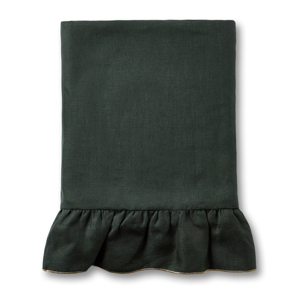 dark green ruffle frill linen tablecloth