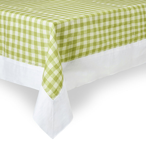 Bright green gingham check tablecloth