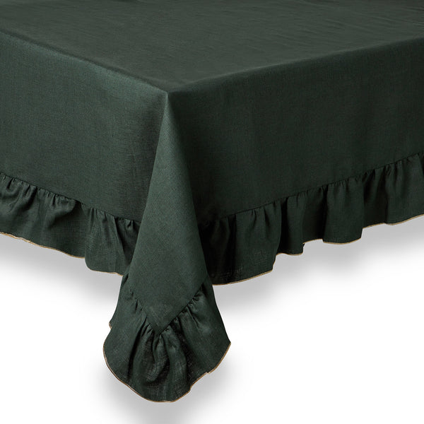 ruffle green linen tablecloth dark green
