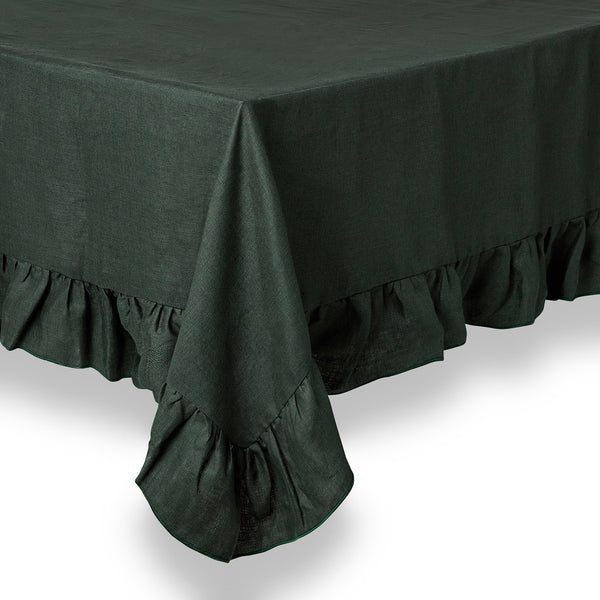 Ruffle Irish Linen Tablecloth, Forest Green