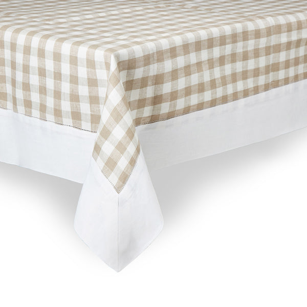 Taupe gingham check tablecloth
