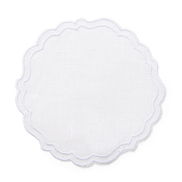 Set of 4 Greta Waxed Italian Linen Coasters, White