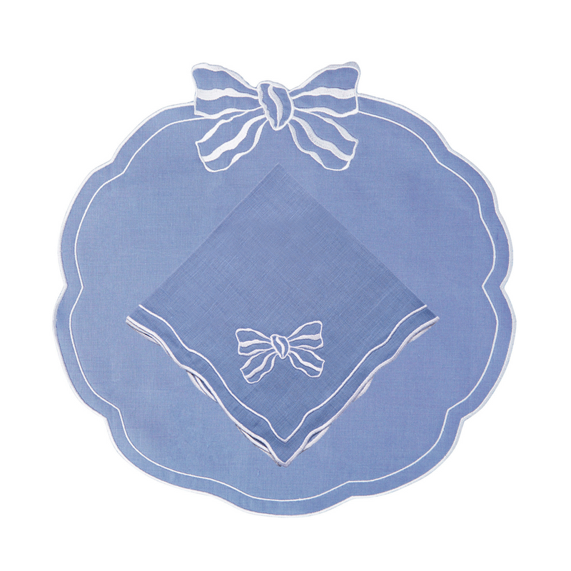 Set of 4 Candy Bow Italian Linen Napkins, Denim