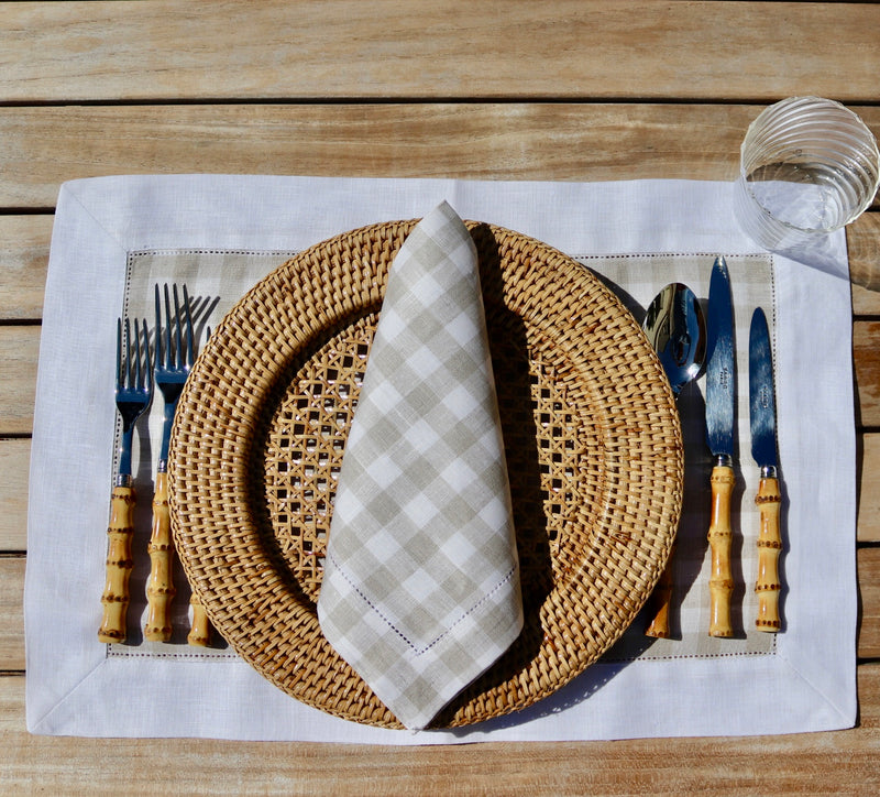 Set of 4 Gingham Linen Placemats in Taupe