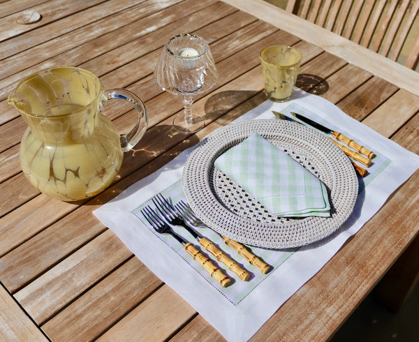 Set of 4 Gingham Linen Placemats in Pastel Green