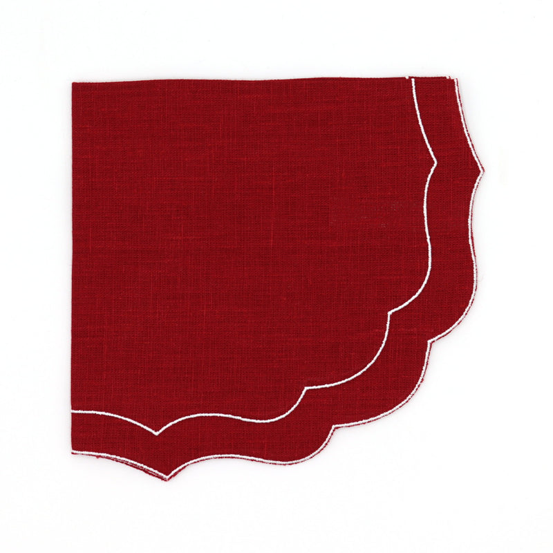 Scallop linen napkin red