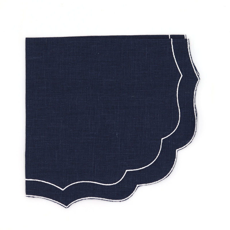 Scallop linen napkin dark blue